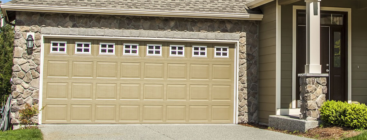 Garage door installed on stone house